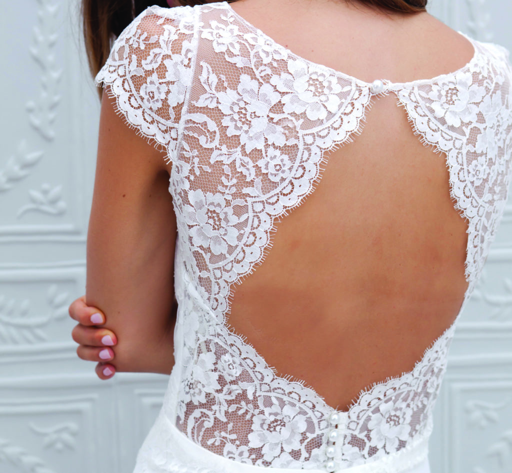 Open back boho wedding dress