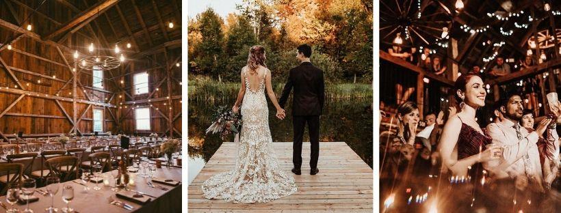 Lieux pour un mariage nature au quebec - Grange - Austin - Couple heureux - Jeunes maries